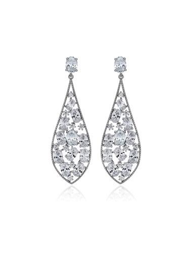 Tophills Diamond Co. 7,40 Ct Pırlanta Efekt Altın  Giovane Schandelier Küpe Renkli